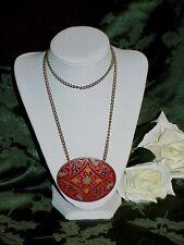 Vintage c1920's Heraldic Red Enamel Coat of Arms Medallion Pendant Necklace Huge