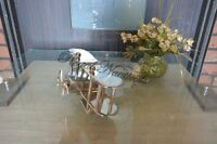 PROPELLER PLANE AVIATION TABLE DECOR INDUSTRIAL RUSTIC METAL AIRPLANE AIRCRAFT