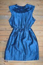 Mujer Elegante Sin Mangas Cerceta Azul Arco De Satén Fiesta Evento Cóctel Vestido talla 8