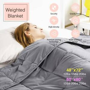 Weighted Blanket 72x48 60x80 Queen Full Size 12 15 20 25 lbs Reduce Stress
