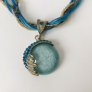 Teal Blue Gold Tone Cabochon Pendant Rope Statement Necklace Costume Jewellery