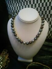 necklace Vintage classic style 50s 60s M&S glass grey pewter burgundy pearl bead