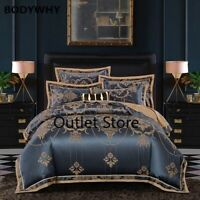 Luxury Silk Jacquard Duvet Cover Set 4/6Pcs Queen King Size Cotton Bedding Set