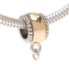 Silver Tone Beaded Edge Gold Plated Charm Bail W/ Loop Euro Style Large Hole