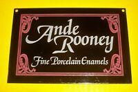 vintage rare Porcelain Enamel ANDE ROONEY DEALER Sign ADVERTISING Ande Rooney