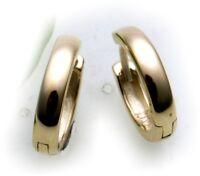 Ohrringe Klapp Creolen echt Gold 750  Glanz 14 mm 18 karat Gelbgold Damen Neu