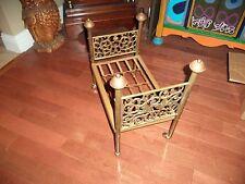 Antique Vtg Salesman Sampler Brass Ornate Birds Metal Doll Bed Wheels Diva Dog