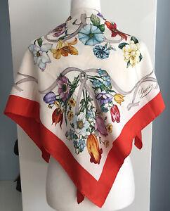 "AUTH GUCCI Orange border Floral Square Silk Scarf,35"" x 35""  Retails for $495"