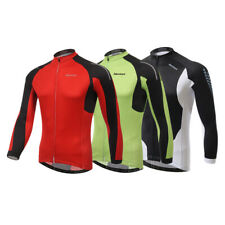 Mersteyo Mens Team Bike Cycling Jersey Long Sleeve Bicycle Shirt TopS-3XL Green