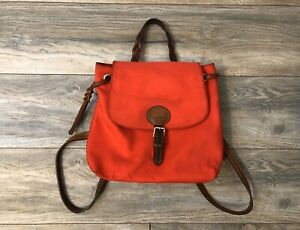 Dooney & Bourke Red Thick Canvas Backpack With Leather Straps/Detaling