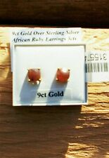 9CT GOLD STERLING SILVER AFRICAN RUBY STUD EARRINGS 3CTS NEW