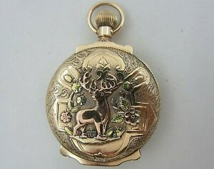 Vintage 1884 Illinois Solid 14k Tricolor Gold Pocket Watch Running 70.2 grams