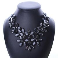 Fashion Crystal Flower Ribbon Chain Necklace Women Bib Statement Collar Chunky