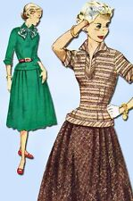 1950s Vintage Simplicity Sewing Pattern 3997 Uncut Misses 2 PC Dress Size 32 B