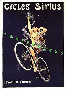 Cycles Sirius 1898 French Bicycle Advertising Vintage Poster Print Nude On Cycle
