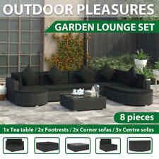 vidaXL Garden Lounge Set With Cushions 8 Piece Poly Rattan Black Furniture