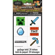 Minecraft Gaming Temporary Tattoos 24 Pack Party Bag Filler BNIP Birthday Loot