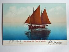 LAGO DI GARDA un saluto barca vela vecchia cartolina 3865