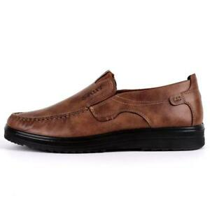 Men Shoes Leather Soft Sole Leisure Driving Antislip Loafers Large Size Chic New