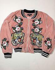 36.5 Women Flowers Tiger Embroidery Patch Velvet Baseball Bomber Flight Jacket