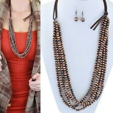 Western Copper Faux Navajo Pearl Multi Strand Layer Necklace Earring Jewelry Set