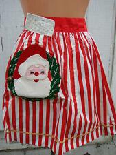 New listing Vintage Half Apron Christmas Santa Claus Applique Pocket Hostess Metal Bell