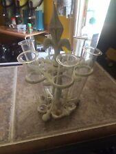 VINTAGE SHOT GLASS HOLDER ORNATE METAL ART DECO