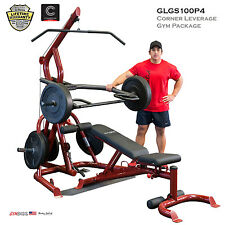 2018 NEW Body Solid GLGS100P4 Plate Loaded Leverage Gym + Bench GFID100