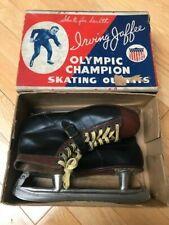 Vintage 1940s Irving Jaffee Olympic Champion Leather Ice Skates w/Box Sz 10