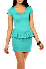 Women Classic Peplum Dress with Basque Tunic Style Scoop Neck Size 8-12 8403