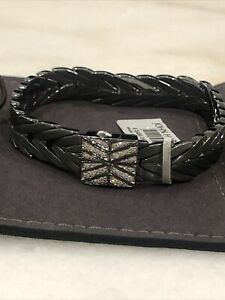 $1,595 NEW John Hardy Modern Chain Black Rhodium Bracelet Diamond Women LARGE