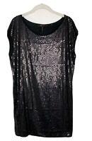 BCBG Max Azria Womens Black Dress Shift Sequin Mini Cocktail Party Size Small H6