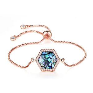 Stunning Rhombus Shaped Opal Crystal 18K Rose Gold GF Adjustable Chain Bracelet
