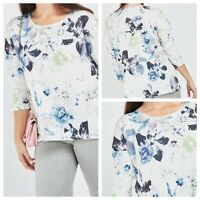 Ladies Blue White Mix Top Size 24 Floral 3/4 Sleeve Smart Casual Everyday NEW LJ