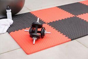 Edukit EVA Foam Gym Mat – Red/Black – 4 Piece – 61.5cm – Interlocking Tiles