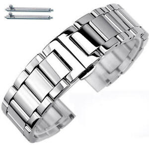 Stainless Steel Bracelet Replacement Watch Band Strap Push Butterfly Clasp #5010
