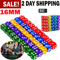 Six Sided Dice Set D6 16mm STANDARD ROUNDED Translucent Games Multicolor Die 50