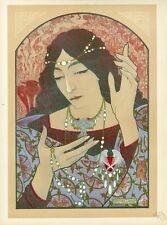 """""""INVOCATION A LA MADONE D'ONYX VERT"""" Litho L'ESTAMPE MODERNE Marcel LENOIR 1897"""
