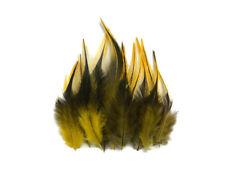 12 pièces-Golden Badger court Rooster Hackle Extension De Cheveux Plumes Whiting