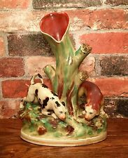 Staffordshire English Pointer & Spaniel Dogs Porcelain Fluted Vase