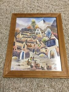 Original Mexican Watercolor Drawing UNSIGNED Framed Water Color 10 X 13