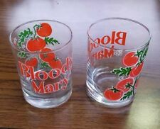 Set of 2 Barware Bloody Mary Glasses Culver Low Ball Tomatoes Red Green EUC