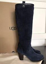 NEW Ugg Australia Ava Navy Blue Suede croc Leather Stacked heel Boot 8 NIB