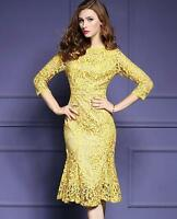 Womens Yellow Lace Fishtail Hem 3/4 Sleeve Cocktail Party Sheath Dress NEW F716
