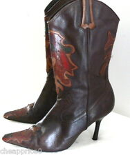 Arezzo Leather Cowgirl Boots pointy toes Heels Made in Brazil Sz 10 B Shoes