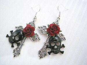 BLACK SKULL SILVER CROSS RED ROSE Large Gothic SP Earrings Day of Dead HALLOWEEN