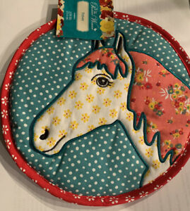 """The Pioneer Woman Trivet Pot Holder Horse Quilted 10"""" 100% Cotton Country Decor"""