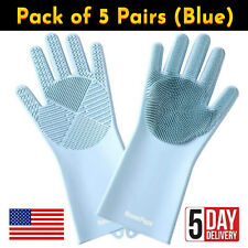 5 Pairs of Ice Blue Silicone Gloves for Dish Washing, Kitchen, Bathroom Cleaning