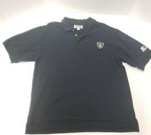 Vintage 90s Oakland RAIDERS STARTER Polo Shirt SEWN Logo NFL ProLine Large H