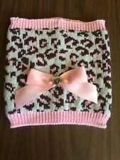 Dog Neck Warmer Size M/L Brown Leopard Print Pink Trim And Pink Bow